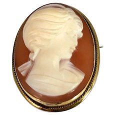 18k Gold Cameo Pendant or Brooch Italy Maker Signed c1920
