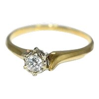 14k Gold Diamond Engagement Ring 6 Prong Set Vintage c1950s