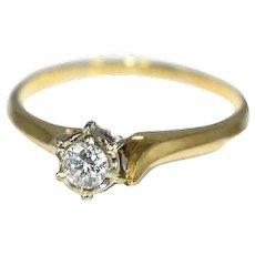 14k Gold Diamond Engagement Ring 6 Prong Set Vintage c1950s