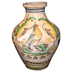 Early 19th Century Tin Glaze Earthenware Stoneware Jug Birds Flowers Italy
