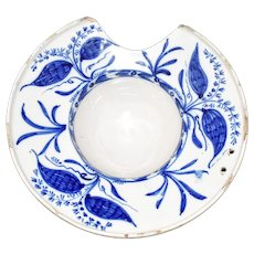 Delft Blue and White Shaving Bowl Dish 18th Century England, Antique Tin Glaze Stoneware