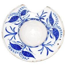 Delft Blue and White Shaving Bowl Dish 18th Century England, Antique Tin Glaze Stoneware