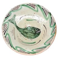 Early 19th Cent Tin Glaze Earthenware Bowl with Primitive Fish Drawing Teruel Spain