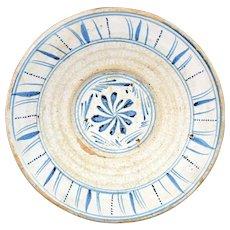 Cut Sponge Blue and White Earthenware Bowl Tin Glaze England c1840s