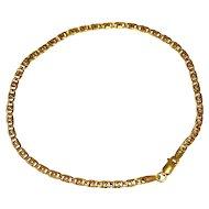 Estate 10k Gold Dainty Anchor Link Bracelet 8 inch Italy