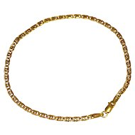 Estate 10k Gold Dainty Anchor Link Bracelet 8 inch Italy