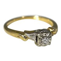 14k Gold Diamond Engagement Ring Deco Style 1930s .10 ct