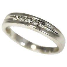 14k Diamond Band Ring White Gold, Men's Wedding Band .25 carats