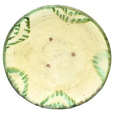 17th Century Earthenware Bowl Large with Green Splash Polychrome Glaze