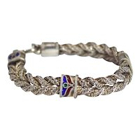 Sterling Silver Braided Bracelet with Enamel Stations Heavy 35g Vintage