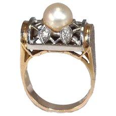 14k Pearl Diamond Lattice Ring Dome Setting Yellow and White Gold