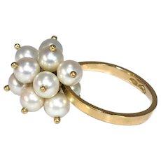 18k Dangle Pearl Cluster Ring Vintage