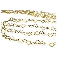 14k Gold Heart Link Necklaces Matching Pair in 2 Lengths Italy Dainty