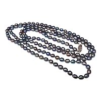 14k Freshwater Peacock Pearl Necklace Long 38 Inch Strand Rope Length