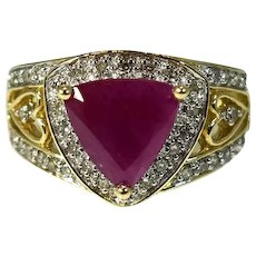 14k Gold Ruby Trillion Diamond Ring with Open Heart Setting