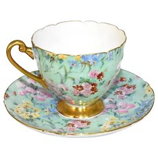 Shelley Melody Chintz Teacup and Saucer Ripon 13382 Excellent