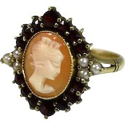 Romantic 14k Gold Cameo Ring Almandine Garnets and Seed Pearls Pinky Ring