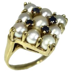 14k Gold Pearl Sapphire Cocktail Ring 1960s Hollywood Glamour