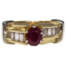 Exquisite 14k Ruby Diamond Ring in Heavy Gold Setting Engagement Ring