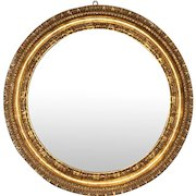 Antique Gilt Wood and Gesso Frame Round Victorian Large 19 Inch