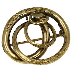 14k Victorian Love Knot Brooch or Pendant Exquisite Antique Gold Jewelry