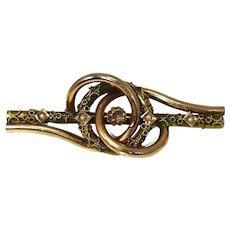 Victorian 14k Rose Gold Yellow Gold Brooch with Applied Rope Decoration Missing Stone