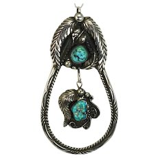 Vintage Sterling Silver Turquoise Pendant Navajo Native American 4 Inch Dangle Signed BIG