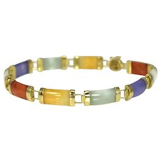 14k Multi Color Jade Bracelet 8 Inch