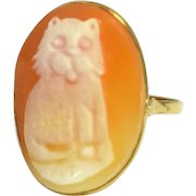 Vintage 14k Cat Lover Cameo Ring Designer Signed Naples Italy