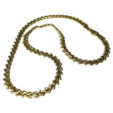 14k Gold Fancy Link Necklace Princess Length Gold Chain 18 Inch Italy
