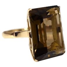 14k Brown Quartz Ring Rose Gold Setting Enormous Gemstone over 17 Carats