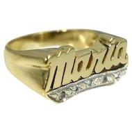 Estate 14k Maria Ring in bold Gold Setting 6.7g Vintage