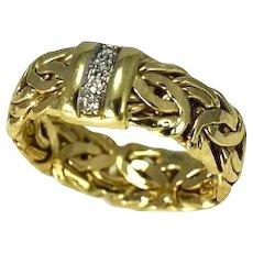 14k Gold Byzantine Diamond Ring Men's or Ladies