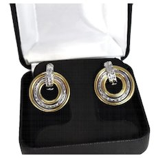 14k Gold Two Tone Drop Earrings White Yellow Gold Circles