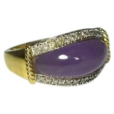 14k Purple Jade Diamond Ring Heavy Gold Setting Lavender Jade