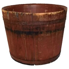 Antique Red Painted Sap Bucket Primitive Wood Decor