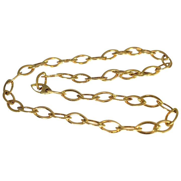 4e24e5ecb4cf5 14k Gold Oval Link Necklace Large Links 24 Inch Gold Chain