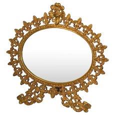 Art Nouveau Oval Dresser Mirror  Beveled Glass Griffins Fleur De Lis