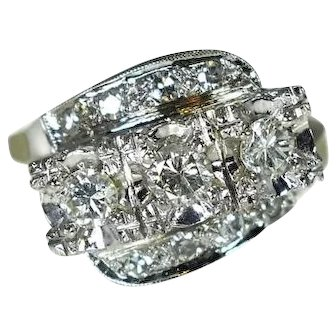 14k Gold 3 Stone Diamond Ring Art Deco Era 1 ctw