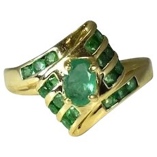 14k Emerald Ring .94 ctw Vivid Stones