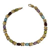 14k Gold Gemstone Tennis Bracelet 4.34 ctw