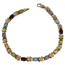 14k Gold Gemstone Tennis Bracelet 4.34 ctw