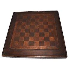 Antique Folk Art Wood Checkerboard Mohagany Walnut Inlay