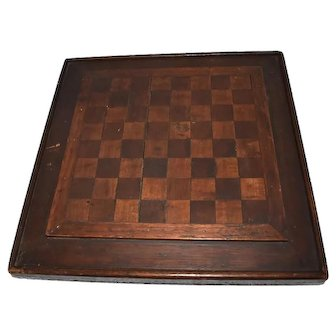 Antique Folk Art Wood Checkerboard Mohagany Walnut Inlay