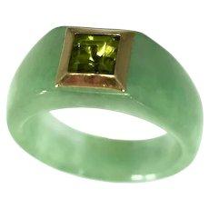 14k Gold Jade Ring with Bezel Set Peridot August Birthstone Ring Unisex