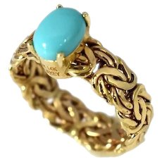 14k Persian Turquoise Ring Byzantine Gold Band
