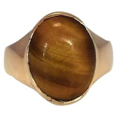 Vintage 14k Gold Tiger's Eye Ring Men's Statement Ring