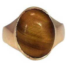 Vintage 14k Gold Tiger's Eye Ring Men's Statement Ring