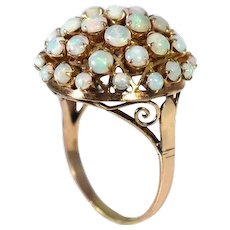 14k Gold Opal Cocktail Ring Domed Gold Setting Vintage