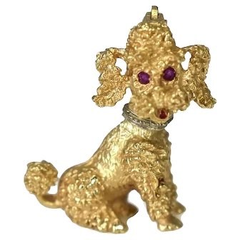 14k Poodle Brooch Ruby Eyes Vintage 1960s